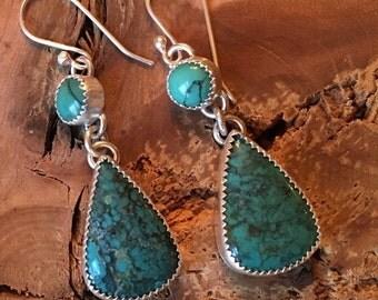 Turquoise Drop earrings- turquoise earrings, metalsmith earrings, chandelier earrings, handmade earrings,