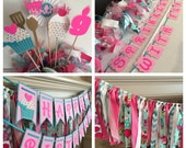 Cupcake Birthday Party Package, sweet girl cake banner, birthday banner, cupcake centerpiece, cupcake fabric banner
