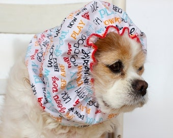 Bow Wow Dog Snood, Cotton Long Ear Coverup, Cavalier King Charles or Cocker Snood,