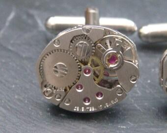 Industrial Watch Movement Cufflinks with genuine watch movements