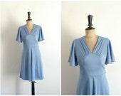 Blue Mini Dress Vintage 1970s / 70s - Size S/M