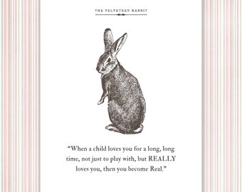 Velveteen Rabbit Print, literary quote, book vintage illustration, nursery decor