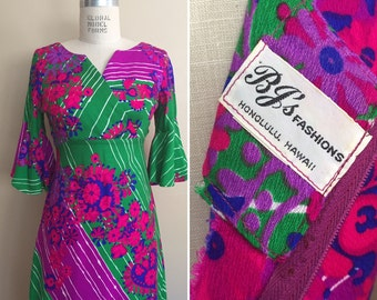 Vintage 1970s Hawaiian Print Maxi Dress / Vintage Ahoha Dress / BJs Fashions Hawaiian Print Dress