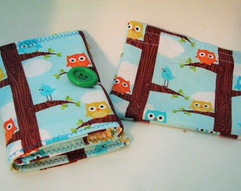 Girls-Fun Coloring Wallet-Crayon Tri Fold-Owls-ADORABLE-TWO Piece-Snack Bag and Crayola Wallet