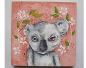 Original folk art koala painting mixed media art painting on wood canvas 6x6 inches - Koala Blossom