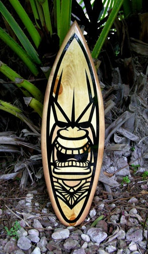 tribal tiki surfboard wood surfboard original wall art by decosurf. Black Bedroom Furniture Sets. Home Design Ideas