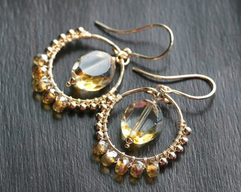 Gold chandelier earrings, yellow dangle hoops, Czech glass beads, wire wrapped, beaded hoop, boho, 14k gold filled, Mimi Michele Jewelry