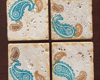 Drink Coaster ** Paisley Brown and Blue ** Set of 4 tile Coasters ** Gift for Mom