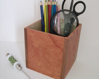 Madrone Burl Veneer Pencil Holder with solid walnut corners, Desk organizer, Office organizer, Remote holder