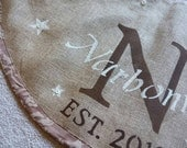 Lined Burlap personalized in brown Christmas tree skirt with monogram, family name, est. date,  stars and buttons