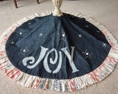 Denim Christmas tree skirt with vintage feed sack ruffle