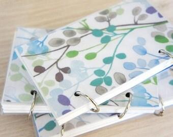 SALE ITEM Mini Note Book / Watercolor Leaves / Floral pattern / Reversible Cover Ring Binder / leaves /  Blue leaf / Brown Leaf / Green Leaf
