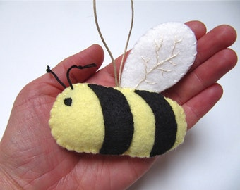 Personalized Bee Ornament, Christmas Ornament, Wool Felt Bee Ornament, Holiday Ornament, Wool Bee, Honey Bee, Bumble Bee
