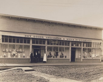 Early 1900s Dry Goods Groceries & Men's Furnishings GENERAL STORE Photo Circa 1905