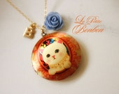 Princess cat with initial pictures Locket necklace