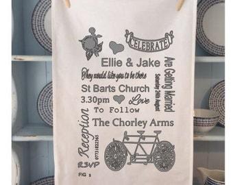 250 Personalised Wedding Invitations / Keep Sake / Tea Towels