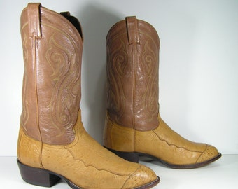 tony lama ostrich cowboy boots mens 10.5 EE honey brown peanut brittle western leather