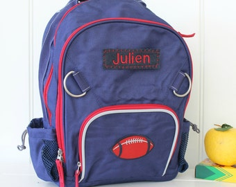 Small Backpack Pottery Barn (Small Size): Navy/Red With Football Patch