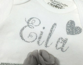 Silver Glitter Personalized Onesie, Matching Headband, Monogrammed Shirt, Baby Shower Gift, Gray Flower Headband