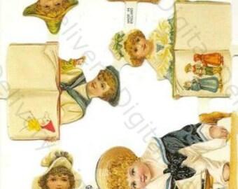 Vintage victorian styls children sailor die cut scraps no. 21