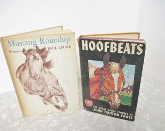 Distressed Vintage Books with Horse Covers lot of 2