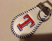 Keychain made from baseball with Embroidered Texas Rangers T
