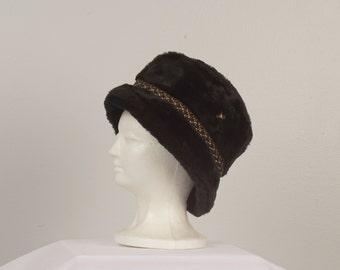 black Faux Fur Vintage Winter Bucket Hat Vegan Fur German Alpine Cap with ear flaps Men Women Medium 23 inch