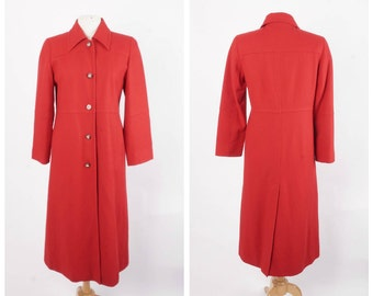 Long Red Wool vintage Coat Small Harve Benard Maxi Coat 6P Minimalist Military