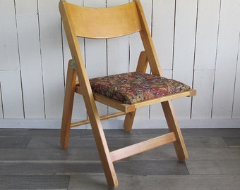 Vintage Wooden Folding Chair with Upholstered Seat - Mod Style