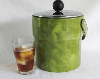 Mid-Century Avocado Green Ice Bucket