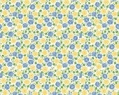 Church Ladies Apron Fabric Cream Floral Fabric Retro Fabric Quilting Fabric Blue and Yellow Fabric - By The 1/2 Yard