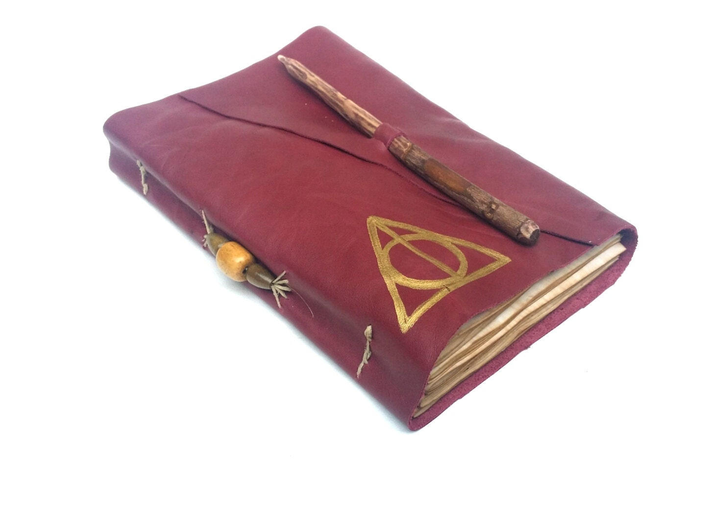 Harry Potter Book Leather Cover : Deathly hallows harry potter leather journal with by