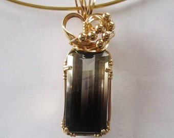 2 color Citrin Pendant, wire wrapped in 14 k gold filled wire by Barb's Design