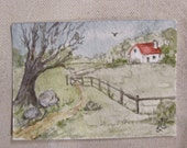ACEO Watercolor Painting Original in a Clear Plastic Display Magnet Frame