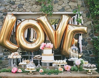"40"" JUMBO CUSTOM LETTER Word Balloons Gold Rose Gold Wedding Anniversary Romantic Love Sign Photo Prop Bridal Shower Large"