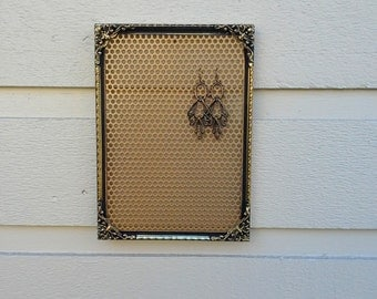 Earring Holder, Brass metal vintage frame filigree corner details, display your earrings and photos, with magnetic gold metal insert