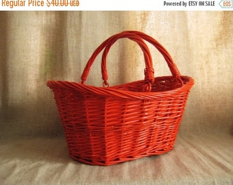 Happy 4th with 40% Off Large Painted Basket in Fire Orange / Large Upcycled Vintage Basket / Picnic Basket / Colorful Storage and Organizati