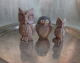 Vintage Owl Figurines Instant Collection / Kitschy Cute Owl Trio / Handcarved Owl Pair and Poly Resin Owl Friend
