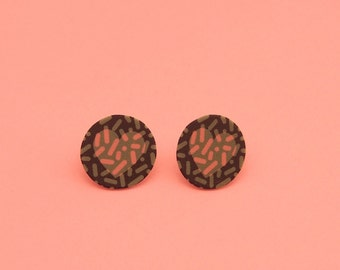 Heart Earrings // Graphic Earrings // Shrink Plastic // Geometric Earrings // Memphis Inspired Jewelry
