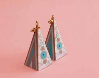 "Geometric Earrings // Statement Earrings // Marble Earrings // Graphic Earrings // Op Art Earrings // Art Deco Earrings // The ""Hi-Fi"""