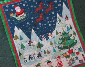 Advent Calendar Frosty Christmas, Personalized Christmas Decoration, Wall hanging, Fabric Advent Calendar