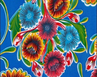 Round Oilcloth Tablecloth Bloom Blue