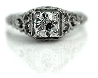 Antique Engagement Ring Art.80ctw Solitaire 14K White Gold Antique Filigree Ring Vintage Deco Engagement Ring!