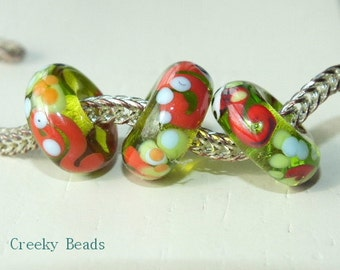 """Handmade Large holed lampwork beads """"Lime & Coral"""" Creeky Beads SRA"""