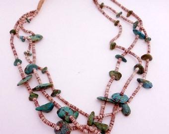 Vintage Squaw Tied Turquoise Heshi Necklace 3 Strand STUNNING