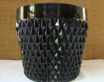 Vintage INDIANA Glass BLACK JET Ice Bucket Diamond Point Pattern Mid Century American Ebony Glass Ice Bucket
