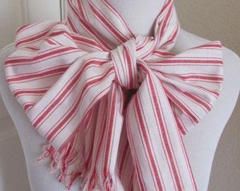 "Scarf Beautiful White Red Stripe Cotton Scarf - 11"" x 64"" Long"