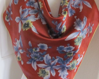 "Lovely Brown Rust Floral Soft Acetate Scarf // 32"" Inch 81cm Square"