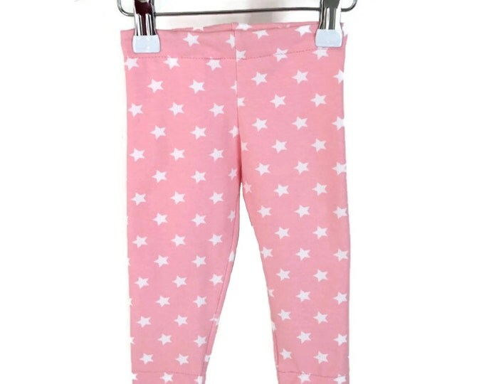 Leggings babypink, girls leggings stars, girls outfit, baby girls leggings, size newborn - 18 m