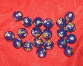 NEW Wholesale Lot Of  20 -12MM  Lapis Gold Color  Inlay  Gemstone Beads